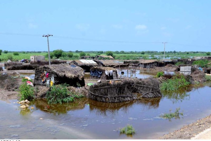 TANDO ALLAHYAR: September 05 – A view of huts submerged in the rain water at Chumber area after heavy rain. APP photo by Farhan Khan