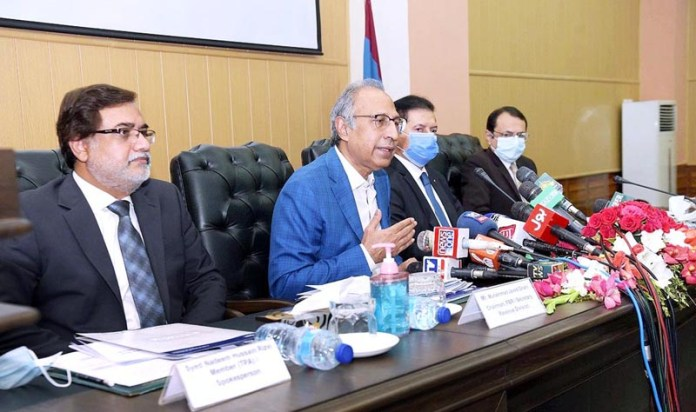ISLAMABAD: September 18 - Adviser to the Prime Minister on Finance and Revenue, Dr. Abdul Hafeez Shaikh addressing a ceremony of Launch of Parliamentarians Tax Directory 2018 at FBR headquarters. APP