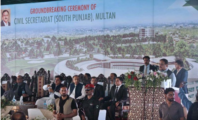 MULTAN: September 17 - Punjab Chief Minister Sardar Usman Buzdar addressing during ground breaking ceremony of South Punjab Secretariat at Circuit House. APP photo by Tanveer Bukhari