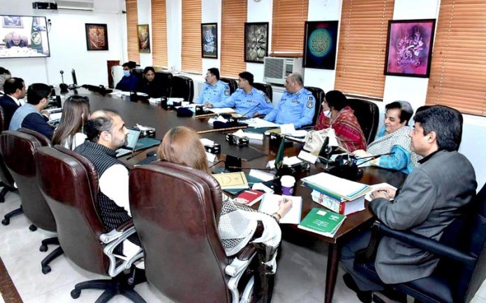 ISLAMABAD; September 18 - Federal Minister for Law and Justice, Barrister Dr. Muhammad Farogh Naseem chairing a meeting of Cabinet Committee on enforced disappearances. APP