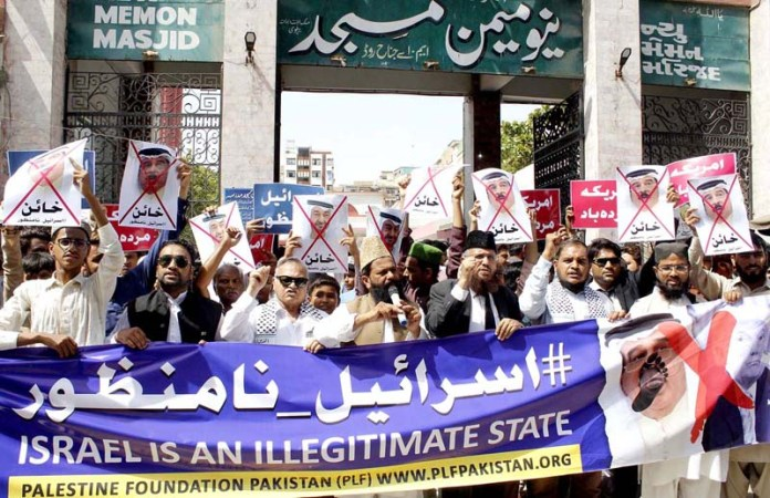 KARACHI: September 25 - Palestine Foundation Pakistan holds protest demonstration against Israel in Provincial Capital city. APP Photo by Syed Abbas Mehdi