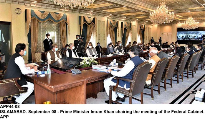 ISLAMABAD: September 08 - Prime Minister Imran Khan chairing the meeting of the Federal Cabinet. APP