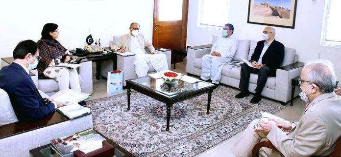 ISLAMABAD: September 03 – Adviser to the Prime Minister on Finance and Revenue, Dr. Abdul Hafeez Shaikh heading a meeting with Special Assistant to the Prime Minister on Social Protection and Poverty Alleviation, Dr. Sania Nishtar. APP