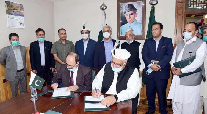 GILGIT: September 07 – Signing ceremony of MoU between Government of Gilgit-Baltistan and Pakistan Housing Authority for construction of low-priced houses in Gilgit-Baltistan. APP