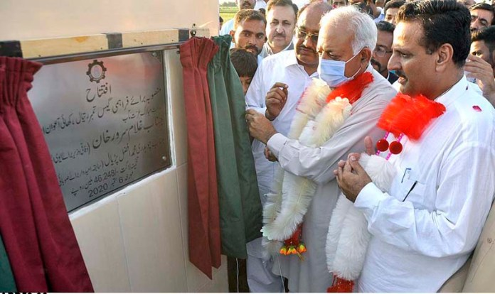 RAWALPINDI: September 06 - Federal Minister for Aviation, Ghulam Sarwar Khan inaugurating sui gas project at Basali Union Council. APP photo by Saleem Rana