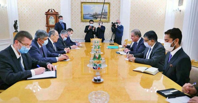 MOSCOW: September 10 - Foreign Minister Makhdoom Shah Mahmood Qureshi in a bilateral meeting with Foreign Minister of Russian Federation Sergey Larvrov on the sidelines of Shanghai Cooperation Organization CFM session. APP