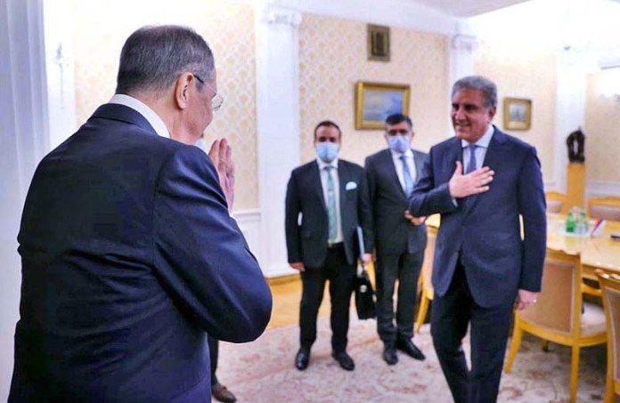 MOSCOW: September 10 - Minister of Foreign Affairs of the Russian Federation Sergey Lavrov greeting Foreign Minister Makhdoom Shah Mahmood Qureshi before the bilateral meeting on the sidelines of Shanghai Cooperation Organization Council of Foreign Ministers at Ministry of Foreign Affairs. APP