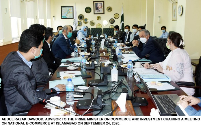 ABDUL RAZAK DAWOOD, ADVISOR TO THE PRIME MINISTER ON COMMERCE AND INVESTMENT CHAIRING A MEETING ON NATIONAL E-COMMERCE AT ISLAMABAD ON SEPTEMBER 24, 2020.