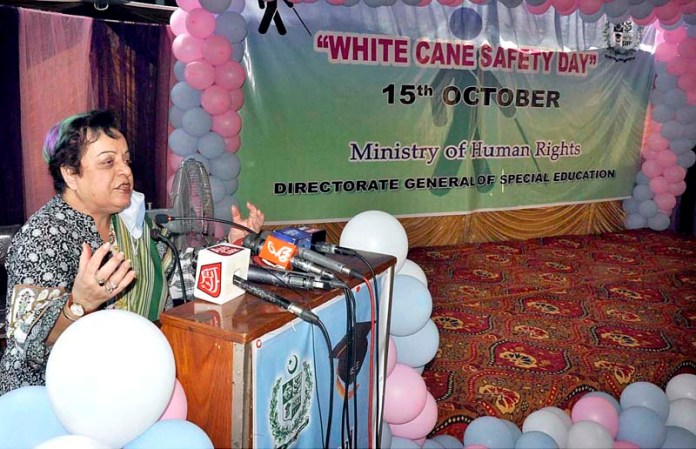 ISLAMABAD: October 15 - Federal Minister for Human Rights Dr. Shireen M Mazari addressing during a function to mark White Cane Safety Day organized by Directorate General of Special Education. APP photo by Saleem Rana