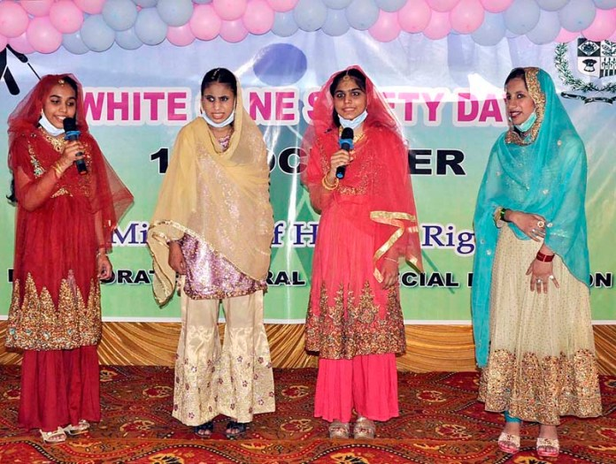 ISLAMABAD: October 15 - Special persons performing in a tableau during a function to mark White Cane Safety Day organized by Directorate General of Special Education. APP photo by Saleem Rana