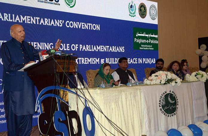 LAHORE: October 06 - Punjab Governor Chaudhry Muhammad Sarwar addressing during parliamentarians convention. APP photo by Amir Khan