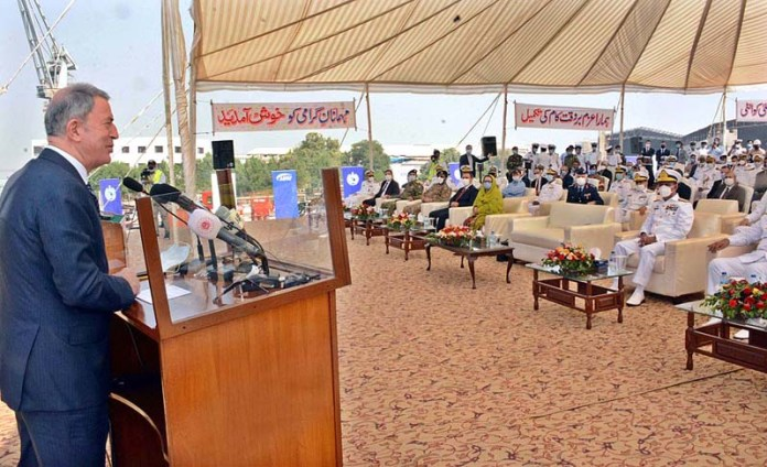 KARACHI: October 25 - Chief Guest Minister of National Defence of the Republic of Turkey HulusiAkar addressing at the Keel Laying Ceremony of MILGEM Class Corvettes being built at Karachi Shipyard &Engg. Works (KS&EW) for Pak Navy. APP Photo M. Saeed Qureshi