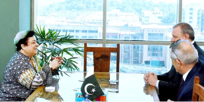ISLAMABAD: October 05 – Ambassador of Italy to Pakistan, H.E. Andreas Ferrarese calls on Federal Minister For Human Rights Dr. Shireen Mazari at her office. APP