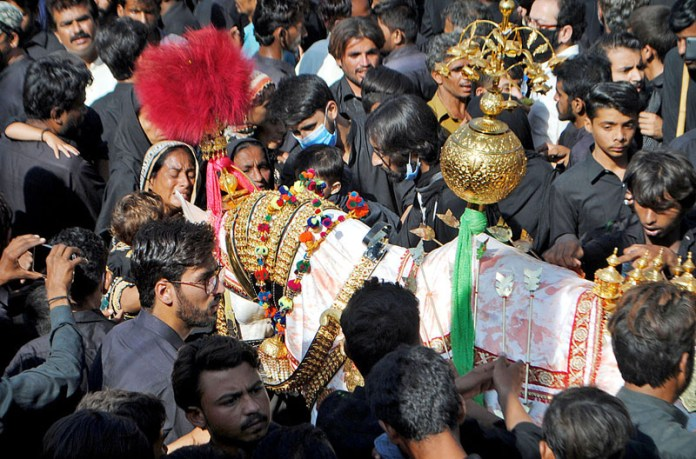 HYDERABAD: October 08 – Mourners touching Zuljinnah during the Chehlum procession to commemorate the martyrdom of Hazrat Imam Hussain (AS) grandson of Holy Prophet (SAWW) in Karbala. APP photo by Farhan Khan