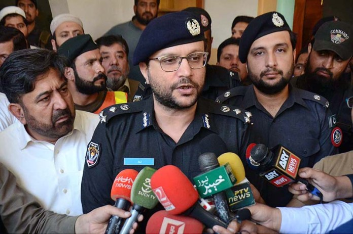 PESHAWAR: October 27 – CCPO Muhammad Ali Ganda Pur talking to media during his visit on the spot after bomb blast in the Masjid at Dir Colony at least 7 persons died and 70 injured in this incident. APP Photo by Shaheryar Anjum