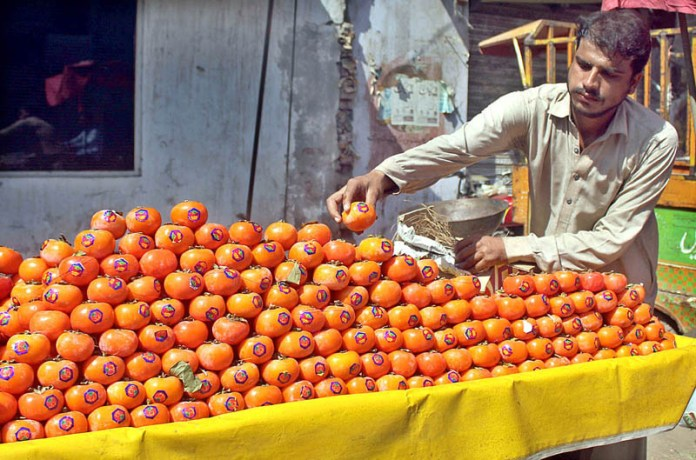 MULTAN: October 09 - Vendor busy in arranging and displaying seasonal fruit to attract the customer at his hand cart. APP photo by Tanveer Bukhari