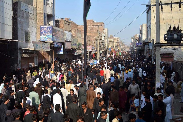 SARGODHA: October 16 - People attending 28 Safar Procession in the city. APP photo by Hassan Mahmood