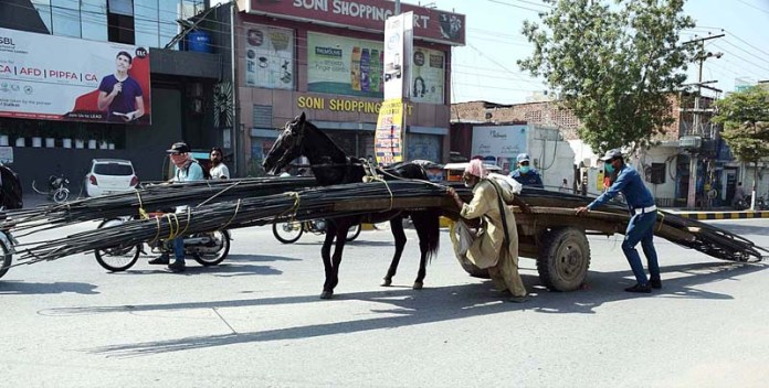 SIALKOT: October 06 – Traffic police wardens helping heavily loaded donkey driven cart owner. APP photo by Munir Butt