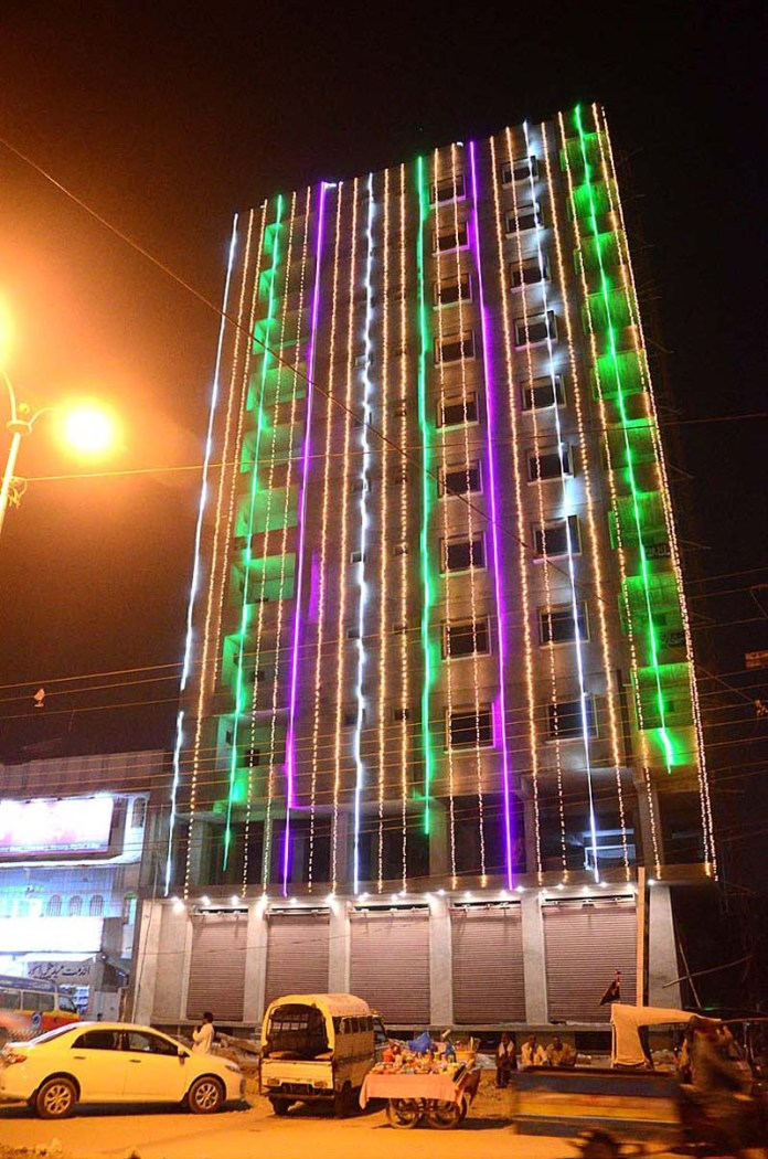 HYDERABAD: October 27 – An illuminated view of building decorated with colourful lights in connection with Eid-e-Milad-un-Nabi (SAWW). APP photo by Akram Ali
