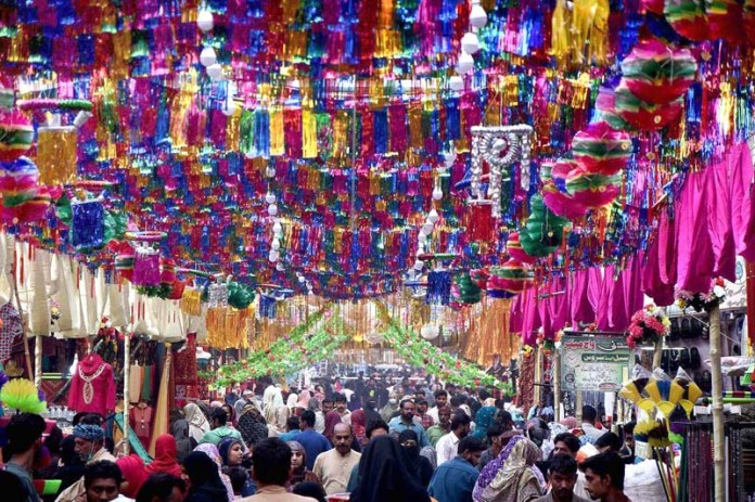 LAHORE: October 29 - A decorated view of Bazar and streets in connection with Eid Milad-un-Nabi(SAWW) Celebration. APP photo by Mustafa Lashari