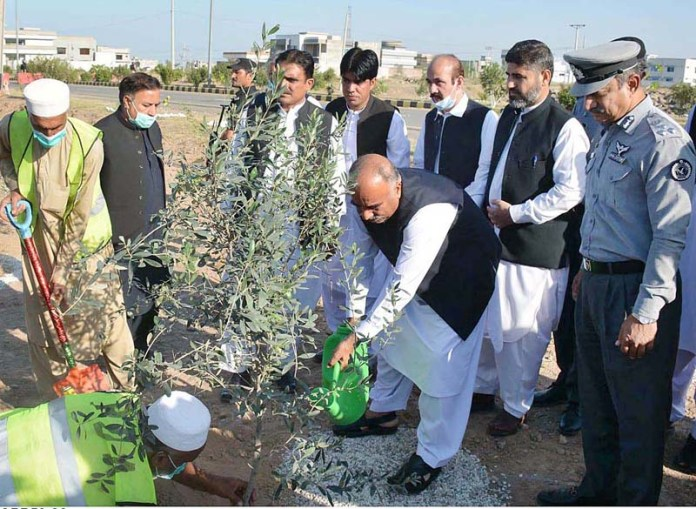 PESHAWAR: October 26 - Governor Khyber Pakhtunkhwa Shah Farman planting a sapling under Governor Fruits for All Program during a tree plantation ceremony arranged by Pakistan Customs at Regi Lalma. APP