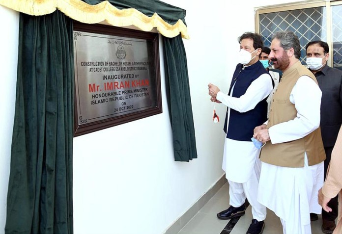 MIANWALI: October 24 - Prime Minister Imran Khan unveiling the plaque to inaugurate hostel building at Cadet College Isakhel. APP