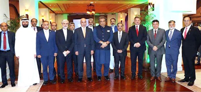 ISLAMABAD: October 23 – Federal Minister for Maritime Affairs Syed Ali Haider Zaidi in a group photo with the ambassadors of different countries and briefed them about the initiatives taken by MOMA for revamping this sector and bringing the port authorities & its other organizations at par with international standards arranged by Ministry of Maritime Affairs. APP
