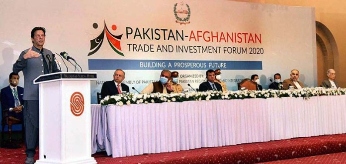 ISLAMABAD: October 26 - Prime Minister Imran Khan addressing the Pakistan-Afghanistan Trade & Investment Forum. APP
