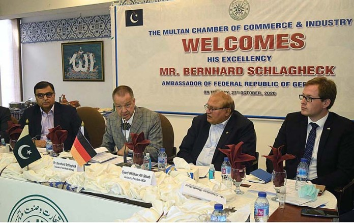 MULTAN: October 27 - Ambassador of Federal Republic of Germany Bernhard Schlagheck addressing to members of Chamber of Commerce and Industry. APP photo by Safdar Abbas