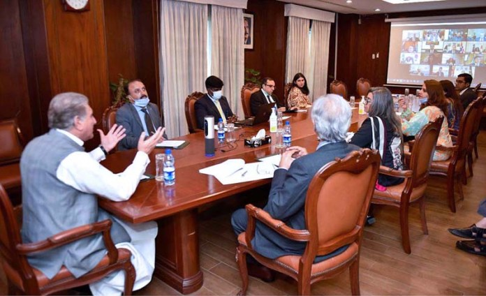 ISLAMABAD: October 08 - Foreign Minister Makhdoom Shah Mahmood Qureshi chairs Second Virtual Envoys Meeting on Economic Diplomacy at Ministry of Foreign Affairs. APP