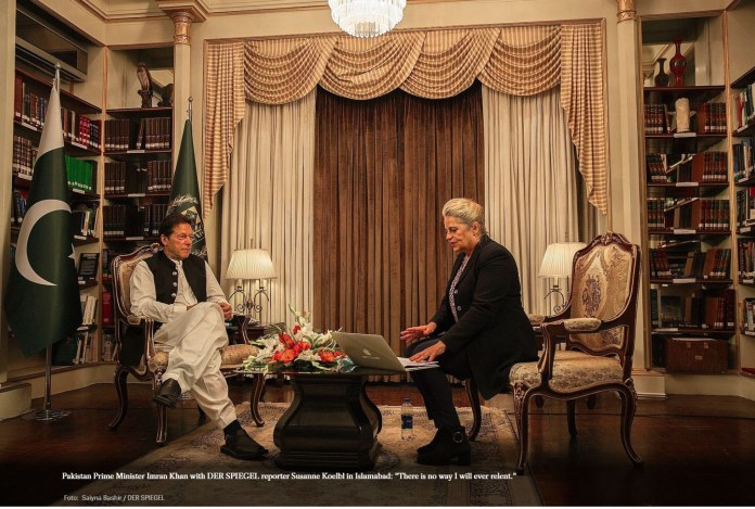 Prime Minister Imran Khan in an interview - Photo courtesy Der Spiegel