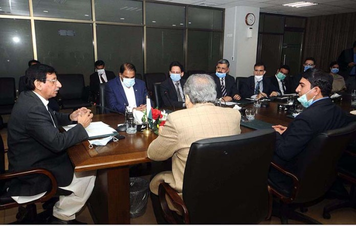 Federal Minister for IT and Telecommunication Syed Amin Ul Haque chairing a meeting during the launching ceremony of Rolling Spectrum Strategy at Ministry of IT