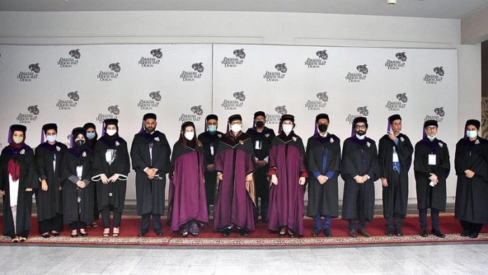 President Dr. Arif Alvi in a group photo with the faculty of Pakistan Institute of Fashion and Design (PIFD) on the occasion of 3rd Convocation at PIFD