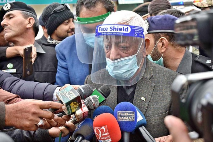 Caretaker Chief Minister Gilgit-Baltistan DIG (R) Mir Afzal Khan talking to media persons about arrangements during Gilgit-Baltistan Election 2020