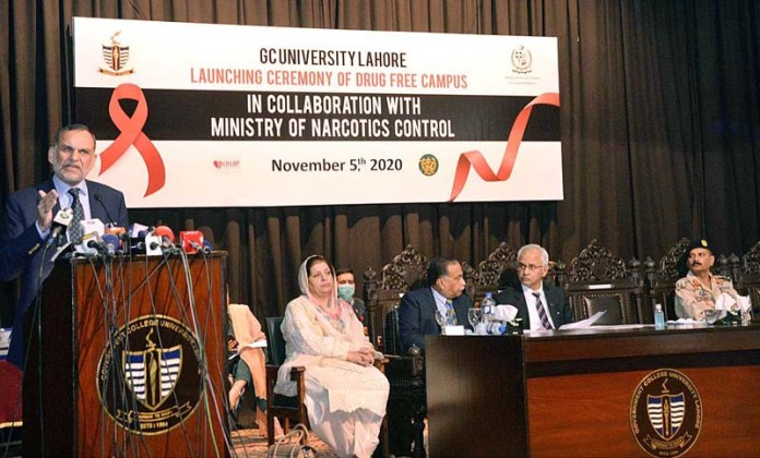 LAHORE: November 05 - Federal Minister for Narcotics Control Azam Khan Swati addressing to a ceremony in Drug Free Campus at GC University. APP photo by Amir Khan