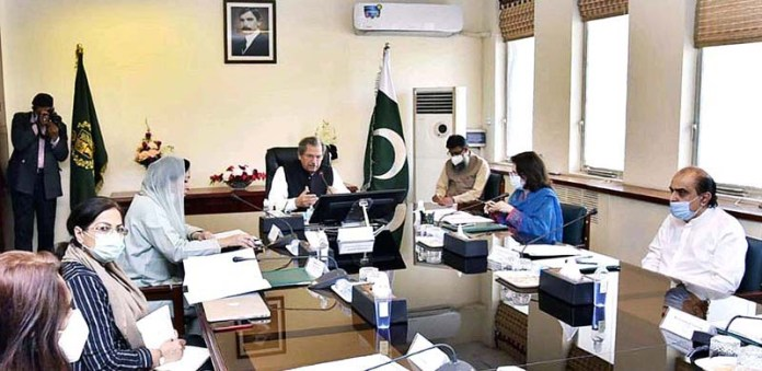 ISLAMABAD: November 05 - Federal Minister for Education, Shafqat Mahmood chairing 21st meeting of Inter Provincial Education Ministers Conference. APP