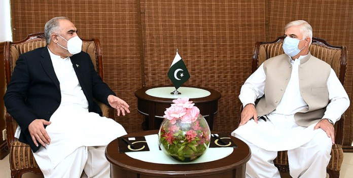 Speaker National Assembly Asad Qaiser called on Chief Minister KPK Mehmood Khan