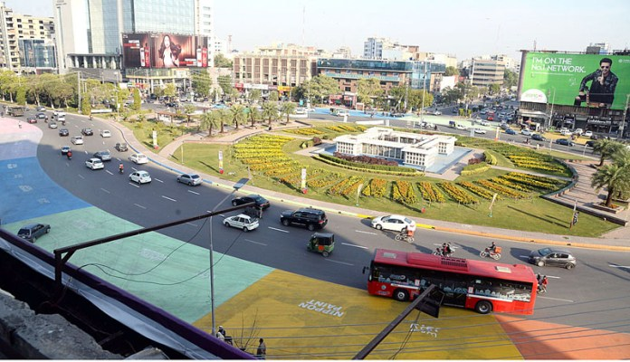 A view of Liberty Chowk's roads painted with different colours