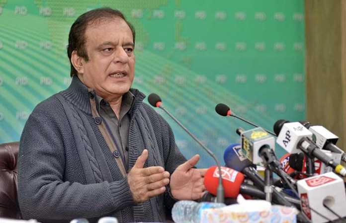 Federal Minister for Information and Broadcasting Senator Shibli Faraz addressing a press conference at PID Media Centre