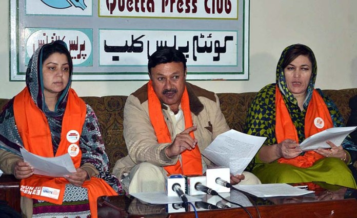 Chairman of Aurat Foundation Balochistan, EVAW/G Alliance Watan Yar Khilji along Yasmin Mughal addressing a press conference regarding starting of campaign of end violence against women and girls
