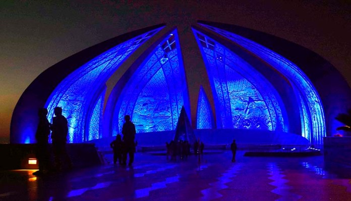 A view of Pakistan Monument decorated with blue lights to mark World Children Day and 30th anniversary of Convention of the Right of the Child