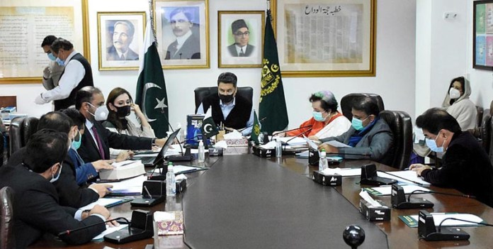 Federal Minister for Law and Justice Barrister Dr. Muhammad Farogh Naseem chairing a follow-up meeting to discuss Anti-Rape Legislation at the Law Ministry