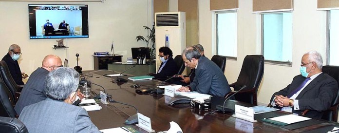 Adviser to the Prime Minister on Finance and Revenue, Dr. Abdul Hafeez Shaikh chairing a virtual meeting of the National Price Monitoring Committee (NPMC) to discuss the price trend of essential food items