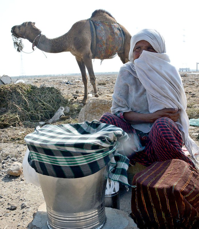 An elderly nomad woman displaying camel milk to attract the customers while sitting at a roadside