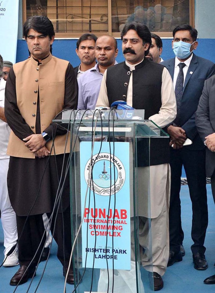 LAHORE: November 05 - Provincial Minister for Sports and Youth Affairs Rai Taimoor Khan Bhatti addressing after inauguration of Punjab Tennis Stadium. APP photo by Ashraf Ch