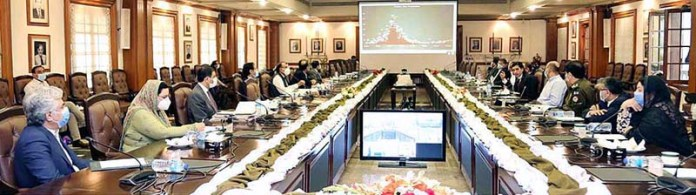 LAHORE: November 09 – Provincial Cabinet Committee for Stoppage of COVID-19 in a special meeting on the instruction of Punjab Chief Minister, Usman Buzdar regarding to cope the situation on the second wave of COVID-19 pandemic in the province. APP