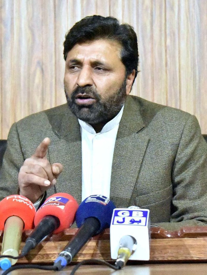 GILGIT: November 06 - President PPP Gilgit-Baltistan Advocate Amjad Hussain addressing a press conference regarding Election -2020 at Press Club. APP photo by Ashraf Hussain