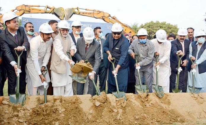 Federal Minister Maritime Affairs Syed Ali Haider Zaidi inaugurating the ground breaking of Infrastructure Development Projects Port Qasim Industrial Zone at Port Qasim