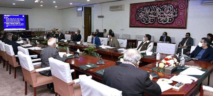 Adviser to the Prime Minister on Finance & Revenue Dr. Abdul Hafeez Shaikh chairing the meeting of the Cabinet Committee on Privatization (CCoP) through Video link