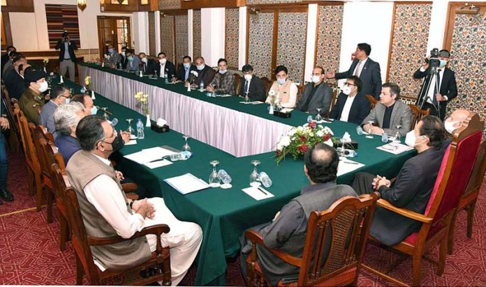 Prime Minister Imran Khan along with Governor and Chief Minister Punjab in a meeting with leading exporters and members of business community